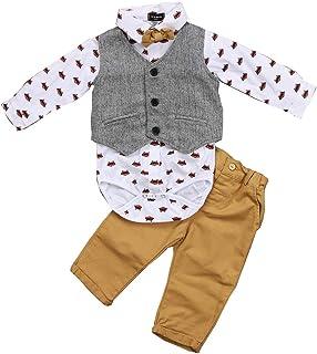 Conjunto de 3 piezas para bebé Gentleman Suit con impresión de manga larga con corbata de mariposa + panzúas + pantalones ...