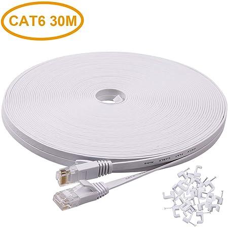 Ankuly LANケーブル ランケーブル フラットタイプ 30m CAT6準拠 1.5mm厚 フラットケーブル サーバー 企業様向け 業務用 カテゴリ6(ホワイト)