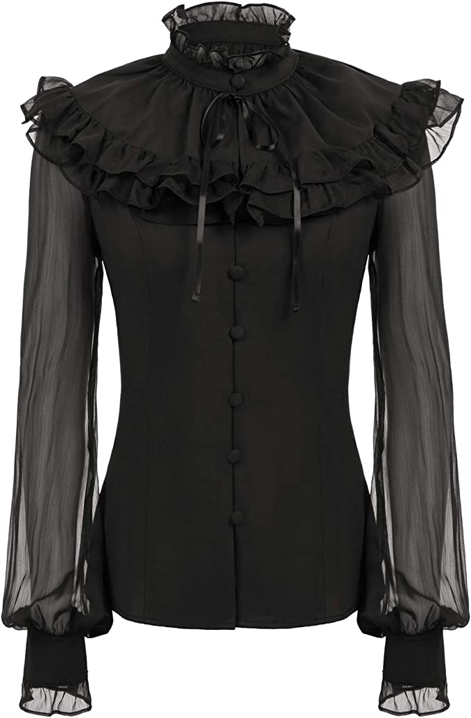 Victorian Blouses, Tops, Shirts, Vests, Sweaters SCARLET DARKNESS Womens Victorian Sheer Sleeve Lace Up Back Ruffled Blouse +Cape  AT vintagedancer.com