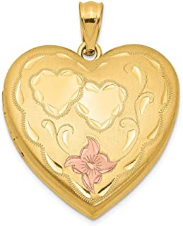 1/20 Gold Filled 4 Frame Enameled Heart Photo Pendant Charm Locket Chain Necklace That Holds Pictures Fashion Jewelry Gifts For Women For Her