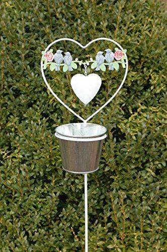 Little More Pot Pot de fleurs Pot Jardin Tige Jardin Décoration de jardin pelouse vers connecteur Plante décorative Jardin Fiche Métal Blanc 110 cm