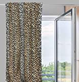 Cortina de diseño de leopardo «Celestina», 140x 280 cm, marrón