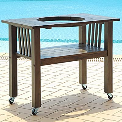 Duluth Forge CT-M-AG Table for 18 Inch Ceramic Charcoal Kamado Grill and Smoker, Antique Grey