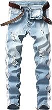 LONGBIDA Men's Slim Fit Jeans Stretch Destroyed Ripped Skinny Side Striped Ankle Zipper Denim Pencil Pants
