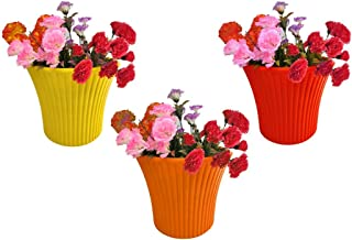 Go Hooked Sunshine Beautiful Indoor-Outdoor Plastic Flower Pots & Planter for Plants-Multicolor, Pack of 3