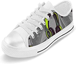 INTERESTPRINT Guitar Music Canvas Shoes Slip-on Lace Up Sneakers for Man Size (6-14) US