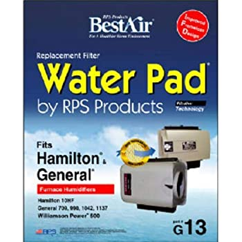 """BestAir G13 Humidifier Replacement Metal/Clay Waterpad Filter, For General, Hamilton & Williamson Power Models, 10"""" x 12.4"""" x 1.8"""", Single Pack"""