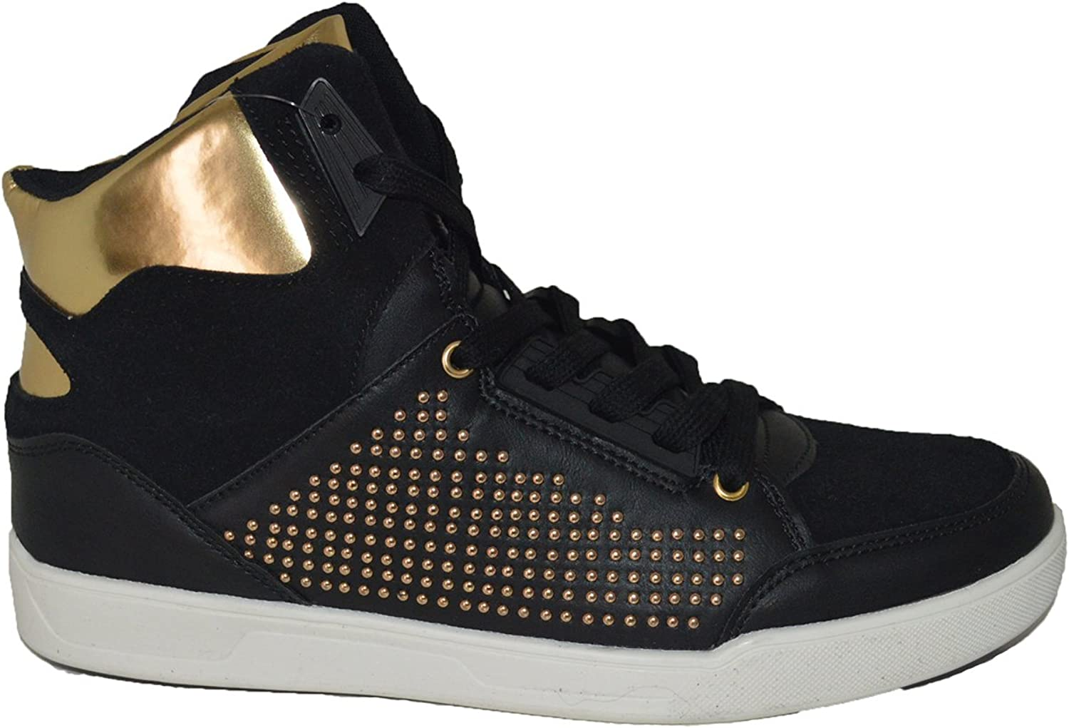 Mecca ME-8060 EAN Men's Mixed Media Studded Lace Up High Top Sneakers.