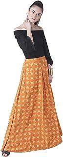 Fusion Beats Women Orange Printed Polyester Skirt