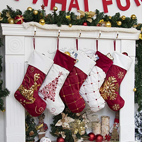 """GEX 2020 Family Christmas Stockings Set of 5 New Embroidery Sequins 19"""" Large Decor Hanging Ornament Fireplace Xmas Tree Holiday Party Decoration (5 Packs)"""