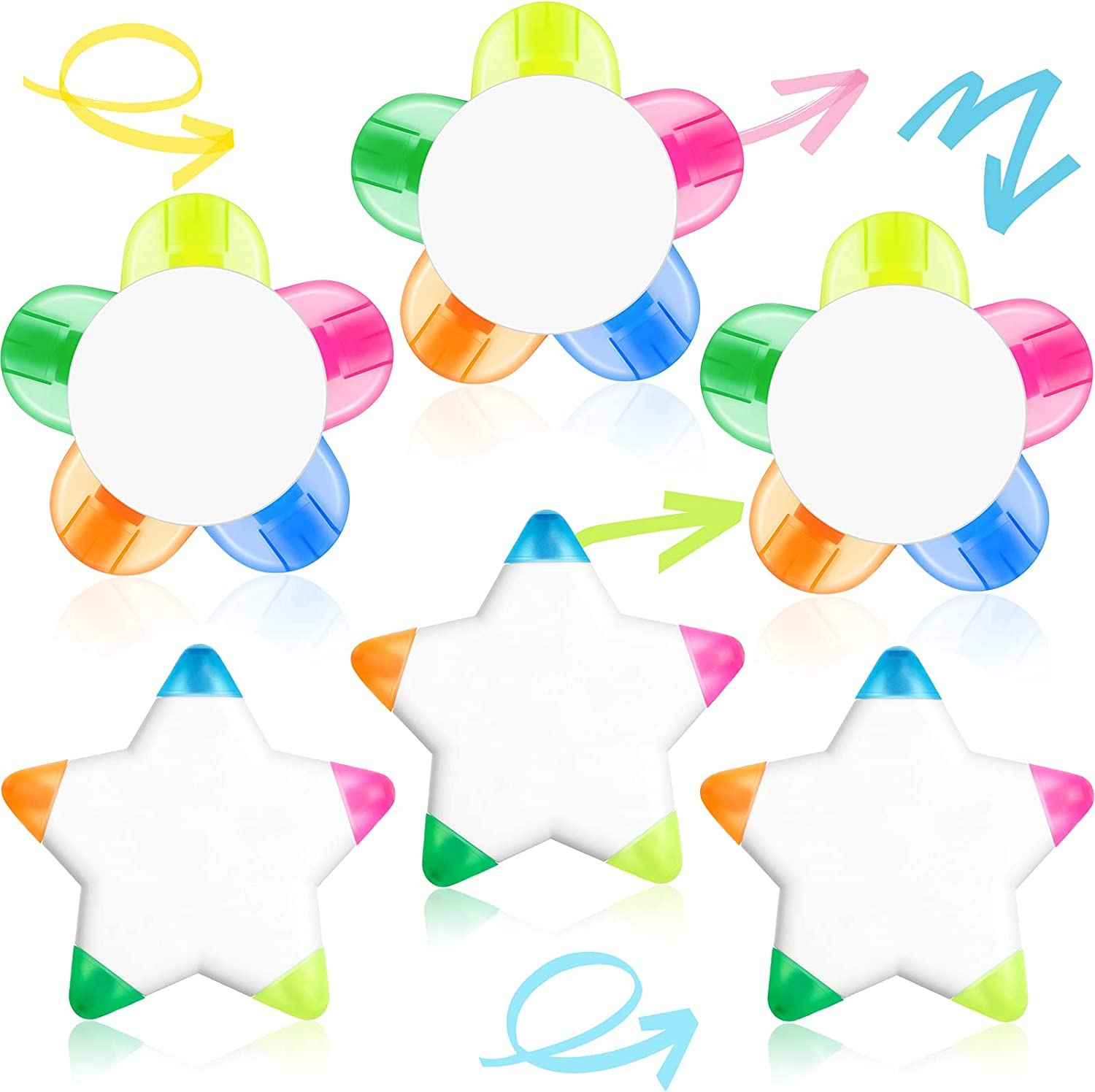 OFFicial 6 Pieces Petals Highlighters Flower Shape Tucson Mall Highlighter Star and W