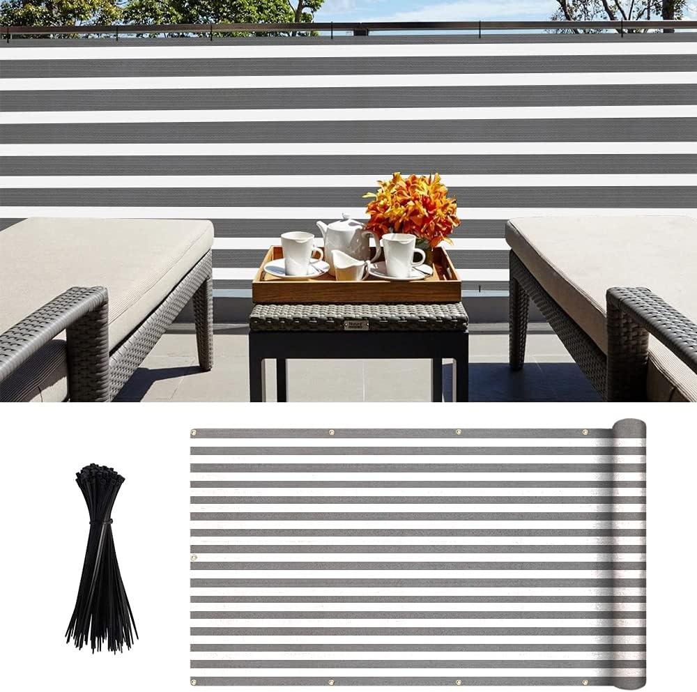 Pantalla para Balcón Jardín Protección de Privacidad Opaca HDPE Resistente a los Rayos UV Protección contra el Viento, con Ataduras de Cables 90 x 500 cm gris y blanco