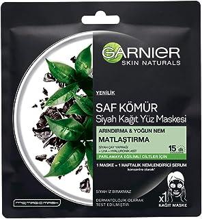 Garnier Kömürlü Kağıt Yüz Maskesi Siyah Çay 1 Paket (1 x 1 Adet)