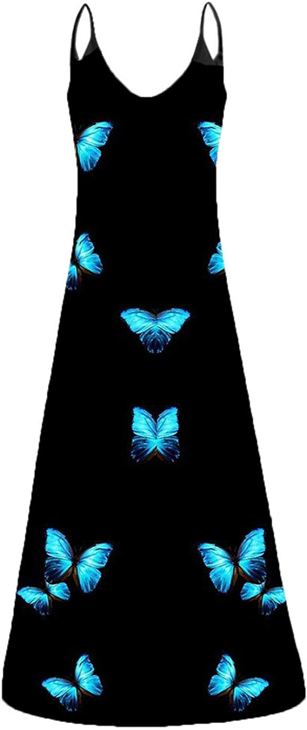 Casual Long Dress for Women Prin V-Neck Butterfly Baltimore Mall Camisole Print Detroit Mall