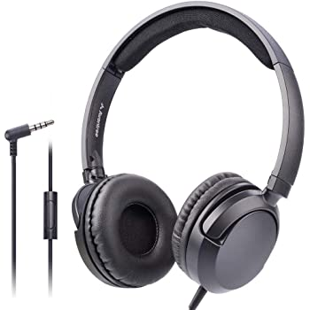Avantree Superb Sound Wired On Ear Headphones with Microphone, 1.5M / 4.9FT Long Cord with Mic for Adults, Students, Kids, Comfortable Headset for PC Computer, Laptop, Tablet, Phone - 026 Black