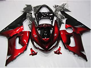 ZXMOTO Black & Deep Red Painted With Graphic Fairing Kit for Kawasaki ZX-6R 636 (2005-2006)