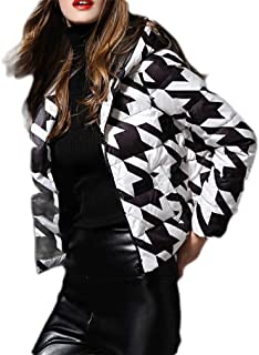 Macondoo Women Winter Print Packable Puffer Warm Hooded Down Coat Jacket