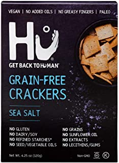 Hu Paleo Vegan Crackers | Sea Salt 2 Pack | Keto Friendly, Gluten Free, Grain Free, Low Carb, No Added Oils, No Refined Starches