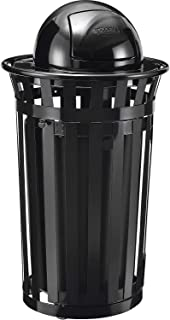 Global Industrial 36 Gallon Outdoor Metal Slatted Waste Receptacle w/Access Door & Dome Lid, Black, Lot of 1