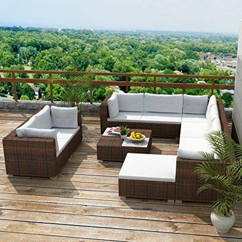 Preisvergleich Produktbild Tidyard 10-TLG. Garten-Lounge-Set mit Auflagen Poly Rattan Braun PE-Rattan + pulverbeschichteter Stahlrahmen leicht zu reinigen für die ganzjährige Nutzung im Freien vorgesehen.