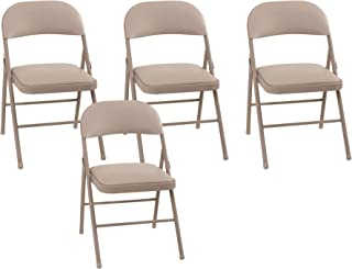 Cosco Vinyl Folding Chair Antique Linen (4-pack)