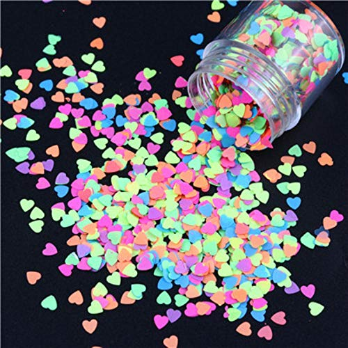 Hexagon Butterfly Nail Art Glitter Sequins Luminous Glow In The Dark Fluorescent Love Heart Shape Flake Manucure Tips 10ml / Jar, love heart 10ml