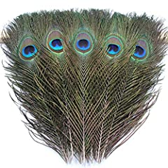 "✈Real natural peacock feathers,Professionally cleaned and sanitized ✈Peacock feather size: 9.8-11.8 inch, each feather will contain an peacock ""eye"" and stem ✈Perfect for floral arrangements, wedding decoration,table centerpieces, jewelry making, hat..."