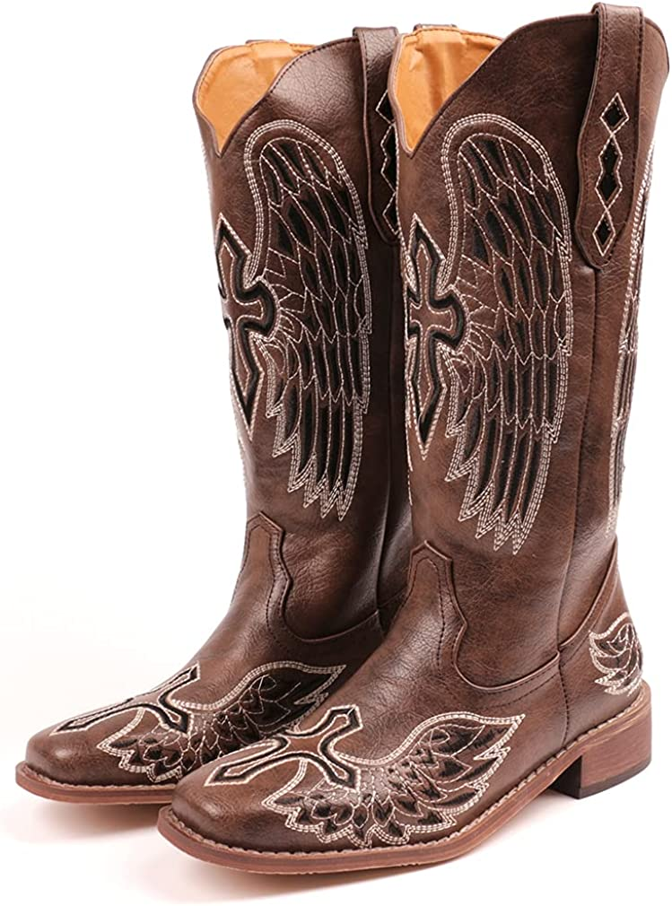 Huntarry Women Embroidery Cowgirl Cowboy Boots Square Toe Mid Calf Western Boots