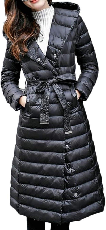 Qiangjinjiu Women Thickened Hooded DoubleBreasted Long Down Jacket with Belt