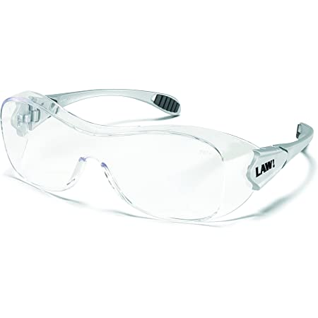 Crews Law Over The Glass Polycarbonate Clear Anti-Fog Lens Safety Glasses with Hybrid Black Temple Sleeve
