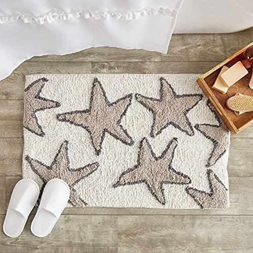 Juvale Non-Slip Bath Mat, Starfish Beach Design Bathroom Rug (Cream, 32 x 20 in)