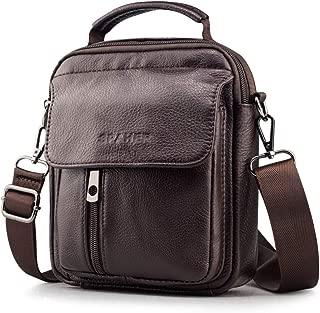 SPAHER Leder Herrentasche Sling Bag Herren Umhängetasche Männer Klein Handtasche Leder Schultertasche Handgelenktasche mit Kartenhaltern und abnehmbarem Schultergurt Braun
