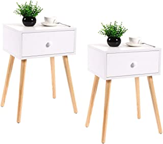 JAXPETY Set of 2 Wooden Bedside Table Solid Wood Legs, Nightstand End Table w/White Storage Drawer for Bedr...