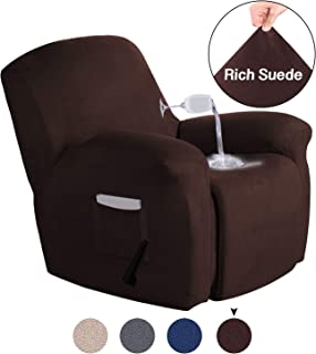 Turquoize Recliner Slipcovers Stretch Chair Covers with Pocket for Living Room Furniture Cover Spandex Couch Slipcover 1 Piece Recliner Cover Suede Chair Slipcover (Recliner, Brown)
