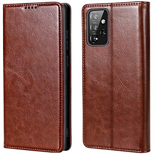 MInYCB - Funda para Samsung Galaxy A52 5G/4G, [protección RFID] [función atril] [cierre magnético] Funda con tarjetero, funda de piel plegable, funda para Galaxy A52 5G/4G (marrón)