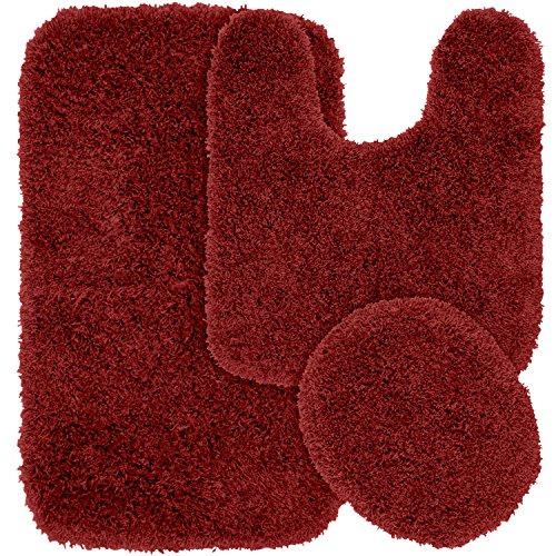 Garland Rug 3-Piece Jazz Shaggy Washable Nylon Bathroom Rug Set, Chili Pepper Red