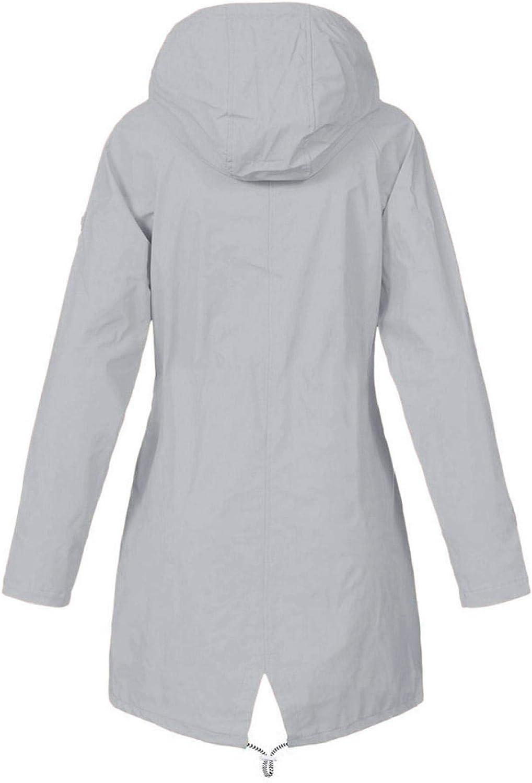 iHENGH Damen Fr/ühling Herbst Mantel bequem Solide Regenjacke Outdoor Jacken mit Kapuze Regenmantel Winddicht Parka Coat