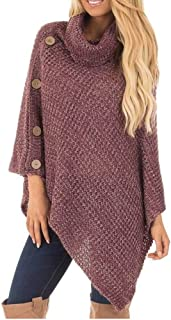 AgrinTol Women Knitted Pullover, Turtle Neck Poncho with Button Irregular Hem Sweaters
