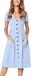 47b60a083b2bb general3 Women A-Line Dress V Neck Solid Short Sleeve Buttons Party Flare  Dress with