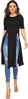 Women's Cute Split Front Longline Round Neck Short Sleeve Flowy Tunic Tops Shirts