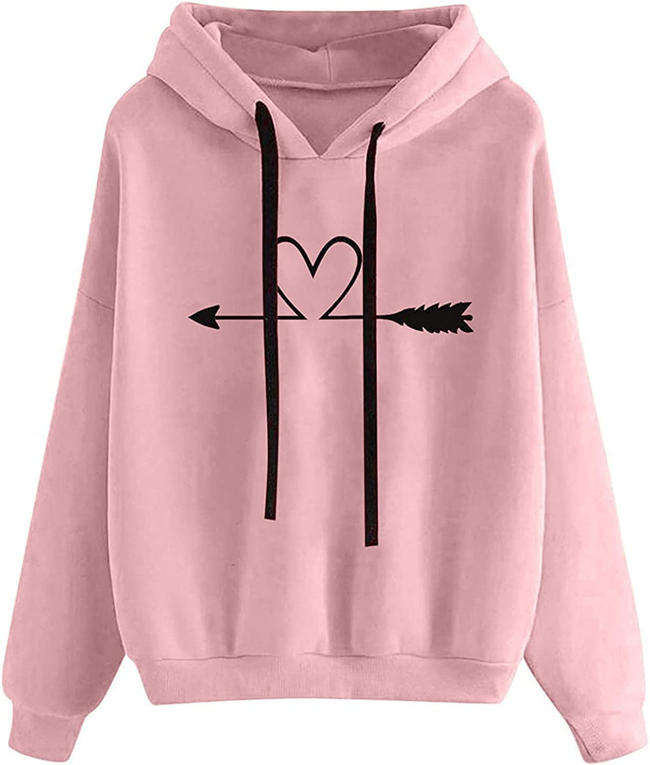 Fudule Graphic Hoodies for Women, Cute Heart Printed Sweatshirts Loose Fit Pullover Tops Long Sleeve Shirts Fall Hooded