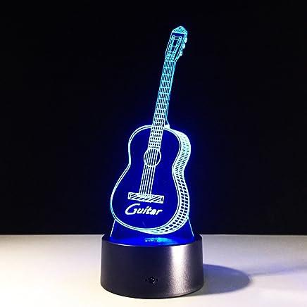 YJH+ ナイトライトギター3Dライト、LEDタッチLEDビジュアルライト、クリエイティブLEDランプ 美しく寛大な ( 色 : 青 )