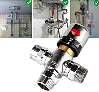 3-Way Thermostatic Mixing Valve with G 1/2 or 3/4inch Male Connections, Brass Thermostat Control Water Blending Mixer Valve for Shower System Water Temperature Control