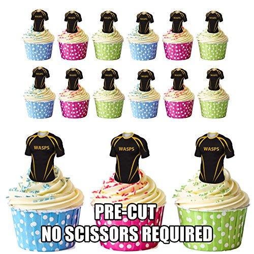 prédécoupés guêpes Rugby Chemises comestible pour cupcakes/gâteau Décorations (lot de 12)