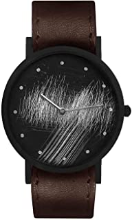 South Lane Swiss Quartz Stainless Steel and Leather Casual Watch, Color:Black (Model: core-SL-93)