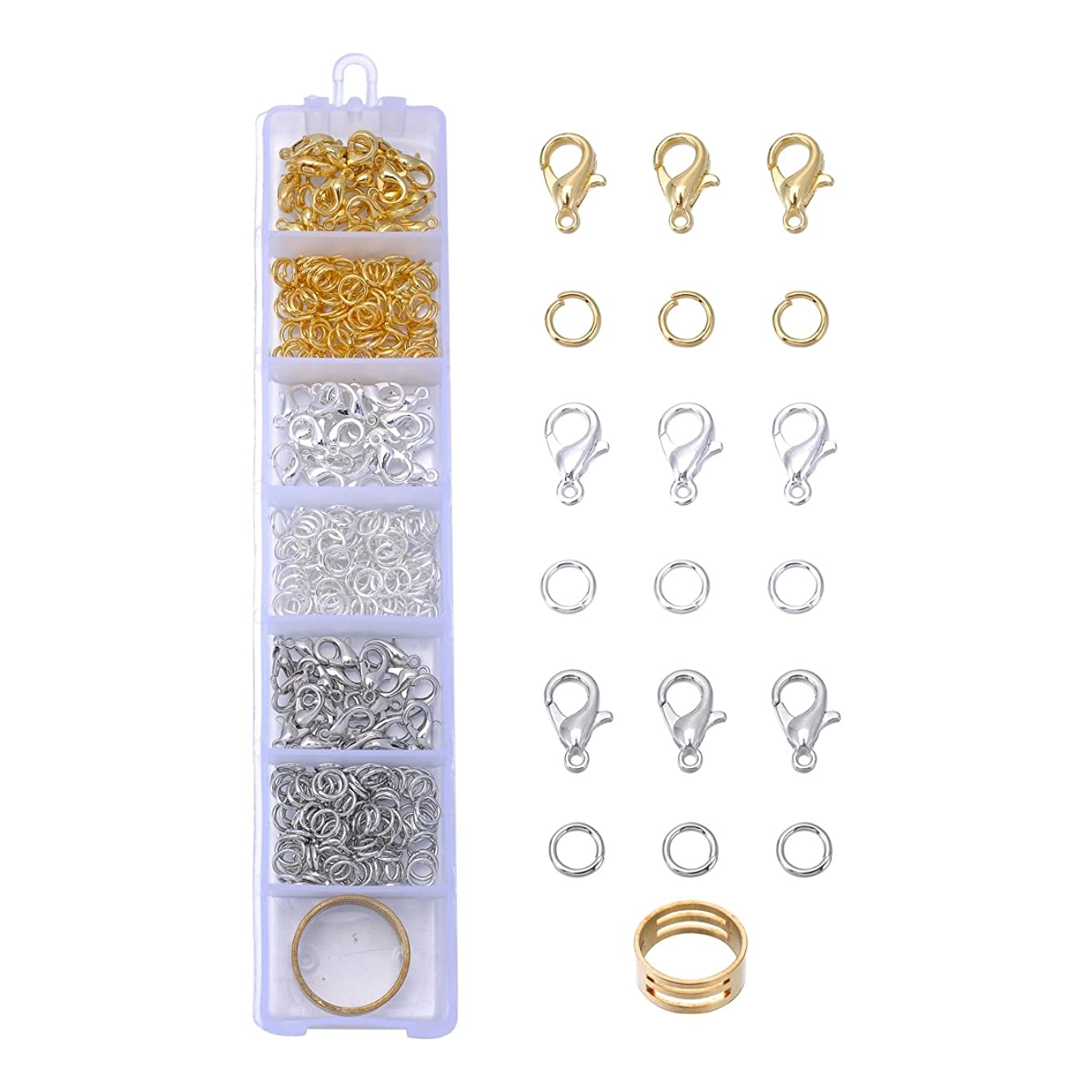 HooAMI 3 Colors Lobster Claw Clasps and 3 Colors Open Jump Rings for Jewelry Making About 360pcs 5mm 10mmx5mm