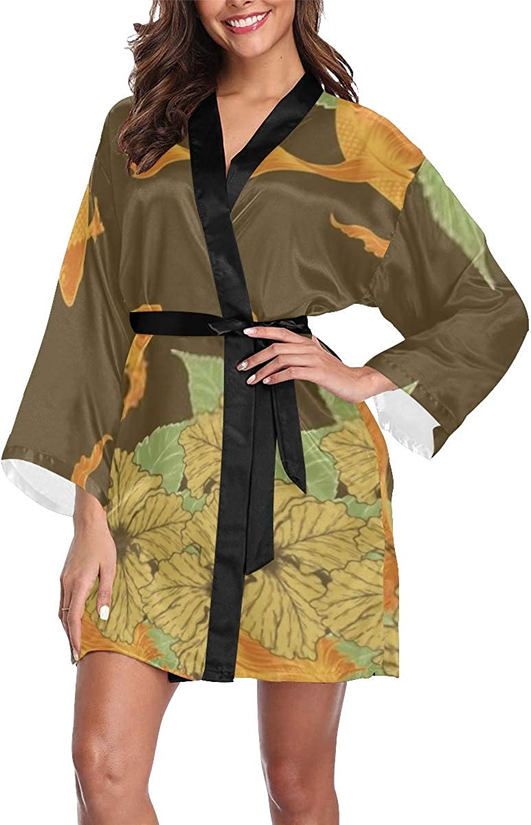 Robe Koi Fish 100% quality warranty! Hibiscus Flower by Kimono Long Robes Ba Short Minneapolis Mall