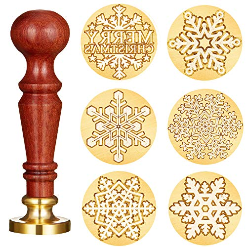 7 Pieces Snowflake Wax Seal Stamp Set Include 6 Styles Snowflake Brass Heads 1 Wooden Hilt for Christmas Holiday Decorations, Postcards, Invitations