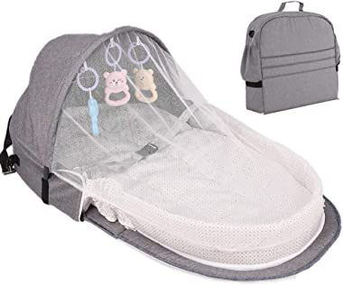 MKYUHP Travel Baby Bed Portable Bassinet for Baby Foldable Baby Bed Travel Sun Protection Mosquito with Toys Travel Infant Bed Backpack (Gray)