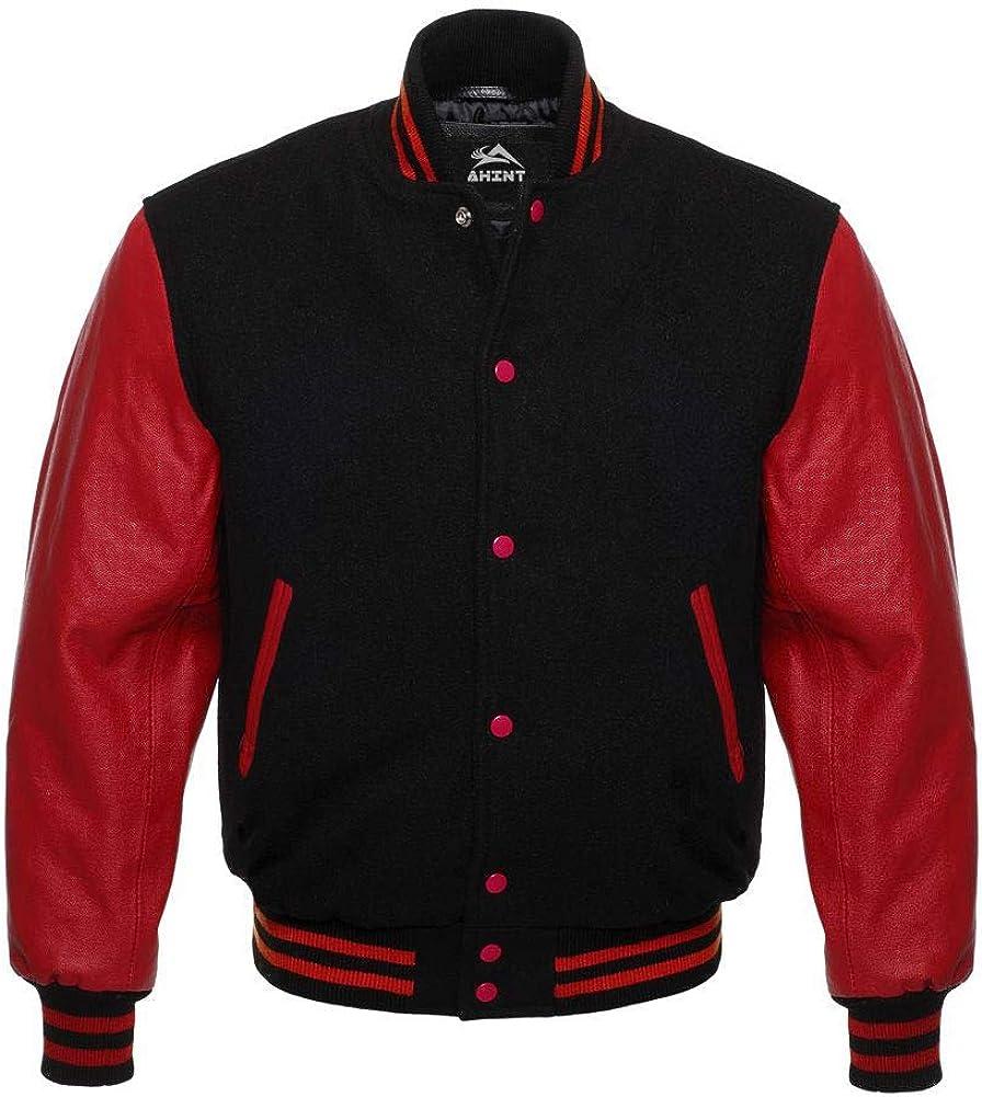 Letterman Varsity Jacket Genuine Cow Leather Sleeves and Original Wool